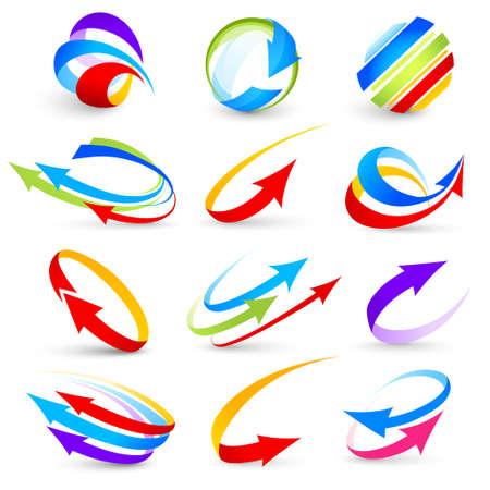 Ilustración de Collection of colour arrows - Imagen libre de derechos