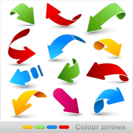 Collection of colour arrows. Vector illustration.