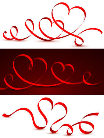 Red tape in the form of hearts. Vector illustration