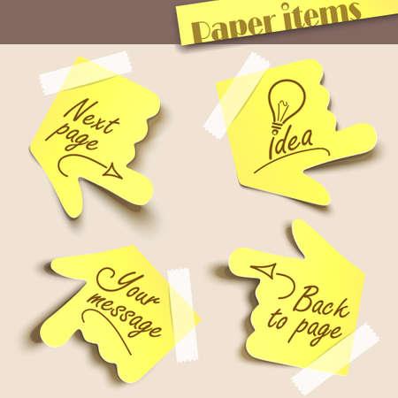 Vector illustration note paper. Message label.