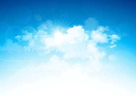 Blue sky with clouds and bright sun and flying airplane  Vector illustration