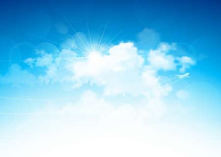 Ilustración de  Blue sky with clouds and bright sun and flying airplane  Vector illustration - Imagen libre de derechos