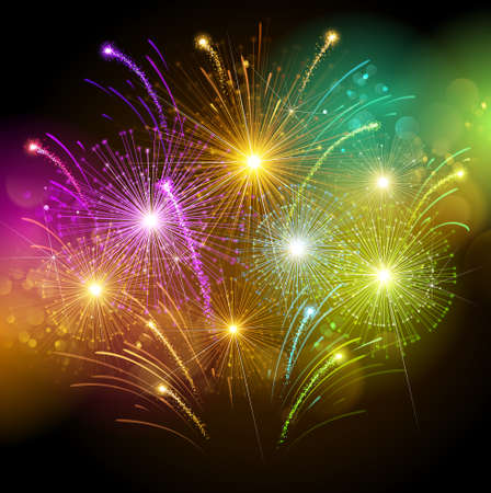 Illustration pour Colorful fireworks - image libre de droit