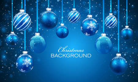 Christmas balls on blue background.