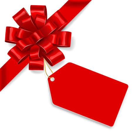 Ilustración de Red satin bow with tag isolated on white background. Vector illustration - Imagen libre de derechos