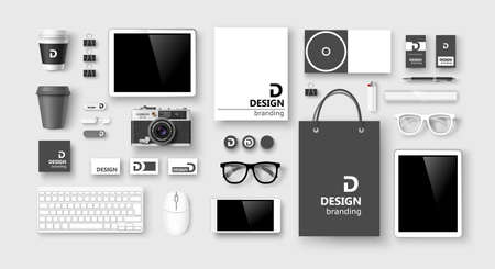 Set of corporate identity and branding on light background. Vector illustration