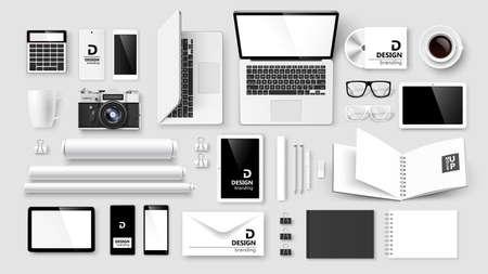 Illustration pour Mock Up set of corporate identity and branding on light background. Vector illustration - image libre de droit