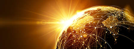 Illustration for Global network with sunrise - Royalty Free Image