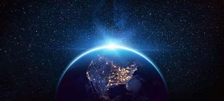 Foto de Planet Earth North America from the Space at Night. - Imagen libre de derechos