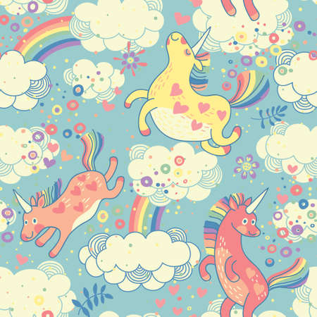 Illustration pour Cute seamless pattern with rainbow unicorns in the clouds  Vector illustration  - image libre de droit