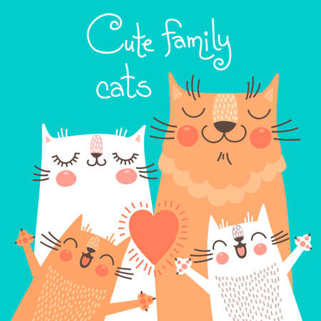 Cute card with family cats. Vector illustration.