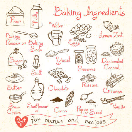 Set drawings of baking ingredients for design menus recipes. Vector Illustration.