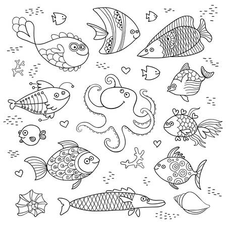Set cute fish and octopus for the design of child coloring. Vector illustration.
