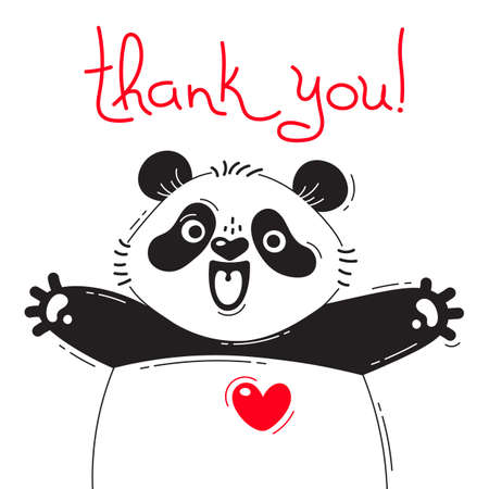 Ilustración de Illustration with joyful panda who says - thank you. For design of funny avatars, posters and cards. Cute animal. - Imagen libre de derechos