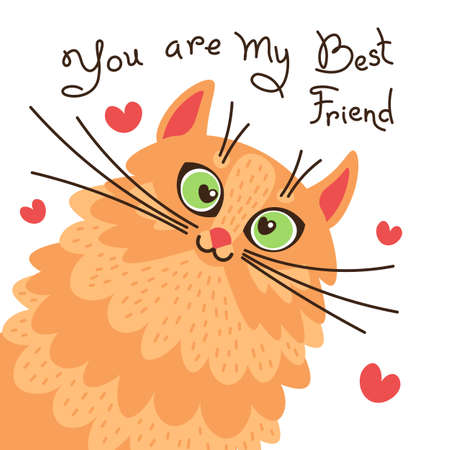 Illustration for Red cat you are my best friend. Card with sweet ginger kitten. Vector illustration - Royalty Free Image