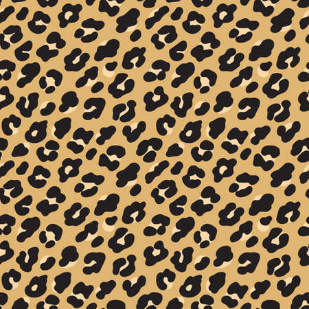 Ilustración de Leopard print. Brown black fur seamless pattern. Vector illustration background - Imagen libre de derechos