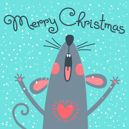 Illustration pour Cute gray rat wishes Merry Christmas. Postcard with a symbol of 2020. Vector illustration - image libre de droit