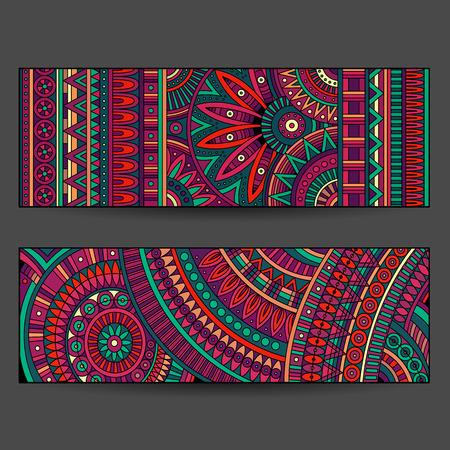 Illustration pour ethnic pattern cards set - image libre de droit