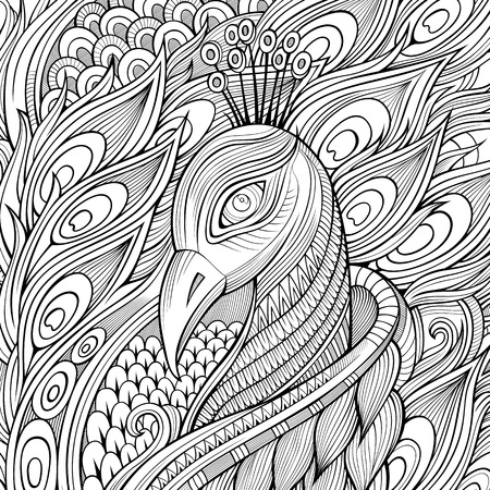 Decorative ornamental peacock bird background. Vector illustration