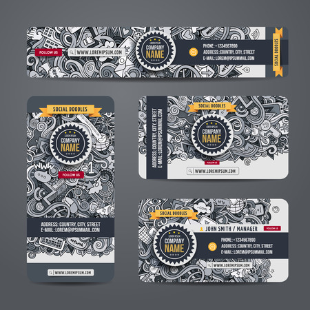 Corporate Identity vector templates set with doodles social theme