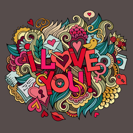 I Love You hand lettering and doodles elements Vector illustration