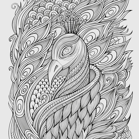 Illustration pour Decorative abstract ornamental peacock background. Vector illustration - image libre de droit