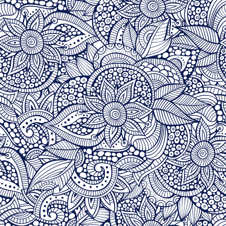 Illustration pour Sketchy doodles decorative floral outline ornamental seamless pattern - image libre de droit