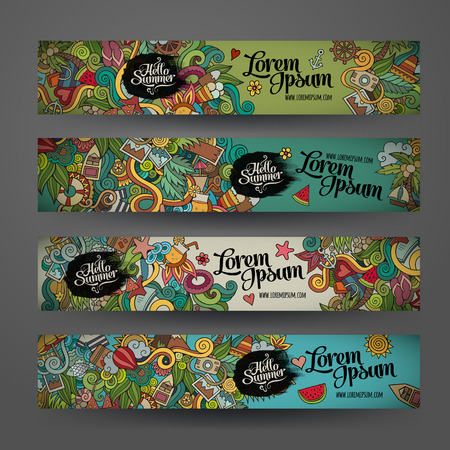Vector banner templates set with doodles summer theme