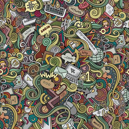 Cartoon vector doodles hand drawn internet social media seamless pattern