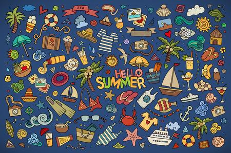 Illustration pour Summer beach hand drawn vector symbols and objects - image libre de droit