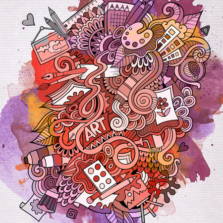 Art doodles elements watercolor background. Vector illustration