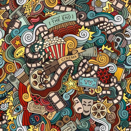 Illustration pour Cartoon doodles hand drawn cinema, movie, film seamless pattern. Vector endless background - image libre de droit