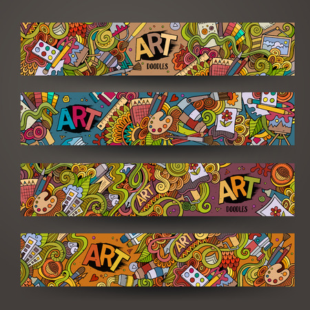 Cartoon hand-drawn Doodle on the subject of art and craft. Horizontal banners design templates set