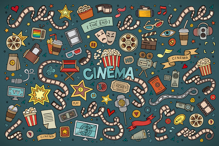Colorful hand drawn Doodle cartoon set of objects and symbols on the cinema theme