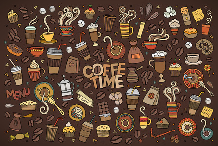 Colorful hand drawn Doodle cartoon set of objects and symbols on the coffee time theme