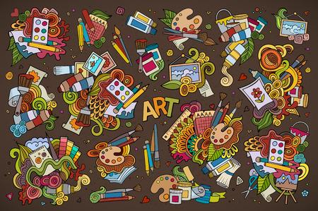 Illustration pour Art and paint materials doodles hand drawn colorful symbols and objects - image libre de droit