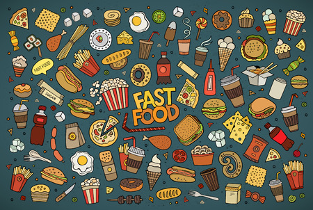 Illustration for Colorful hand drawn Doodle cartoon set of objects and symbols on the fast food theme - Royalty Free Image