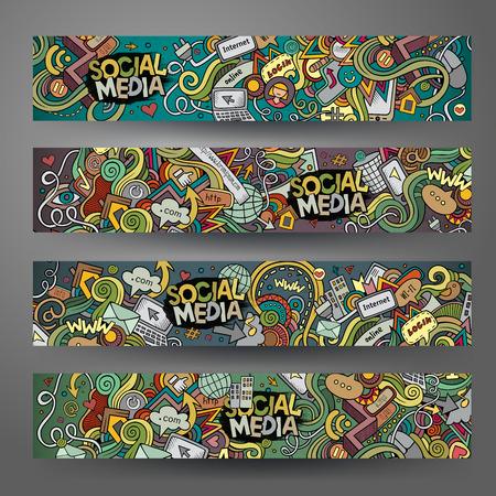 Illustration pour Cartoon hand-drawn social media, internet doodles. Horizontal banners design templates set - image libre de droit