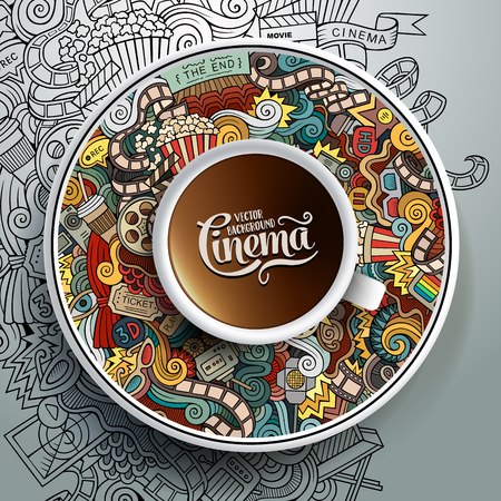 illustration with a Cup of coffee and hand drawn Cinema doodles on a saucer and background