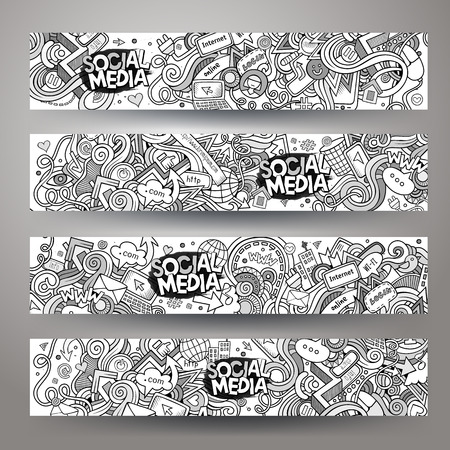 Cartoon vector hand-drawn sketchy social media, internet doodles. Horizontal banners design templates set
