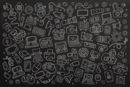 Illustration pour Chalkboard vector hand drawn Doodle cartoon set of equipment and devices objects and symbols - image libre de droit