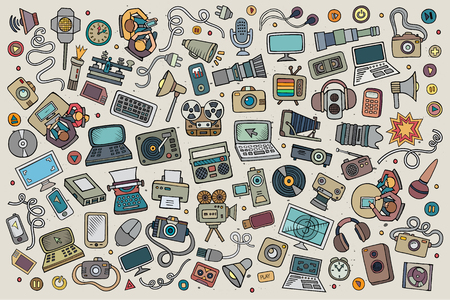 Illustration pour Color vector hand drawn Doodle cartoon set of equipment and devices objects and symbols - image libre de droit