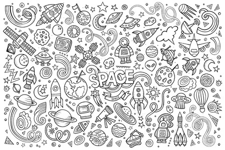 Illustration pour Sketchy vector hand drawn doodles cartoon set of Space objects and symbols - image libre de droit