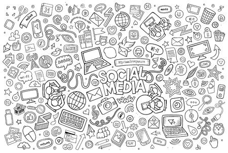 Illustration pour Vector line art Doodle cartoon set of objects and symbols on the Social Media theme - image libre de droit
