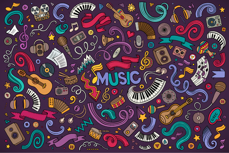 Colorful vector hand drawn doodles cartoon set of Music objects and symbols