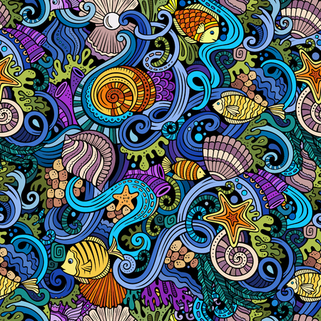 Illustration pour Cartoon hand-drawn doodles on the subject of under water life theme seamless pattern. Colorful detailed, with lots of objects vector background - image libre de droit