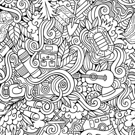 Cartoon hand-drawn doodles on the subject of camping theme seamless pattern. Line art sketchy detailed, with lots of objects vector background
