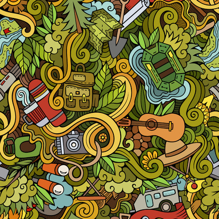 Cartoon hand-drawn doodles on the subject of camping theme seamless pattern. Colorful detailed, with lots of objects vector background
