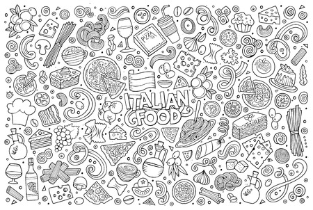 Vektor für Line art vector hand drawn doodle cartoon set of italian food objects and symbols - Lizenzfreies Bild