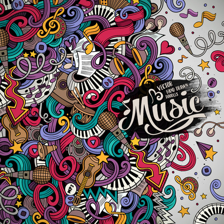 Cartoon hand-drawn doodles Musical illustration. Colorful detailed, with lots of objects background
